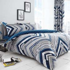 PRINTED DUVET SET AUSTIN BLUE