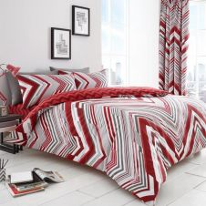 PRINTED DUVET SET AUSTIN RED