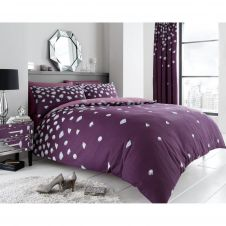 PRINTED DUVET SET BE JEWELLED AUBERGINE