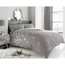 PRINTED DUVET SET BE JEWELLED GREY