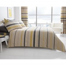 PRINTED DUVET SET BLOCK STRIPE BEIGE
