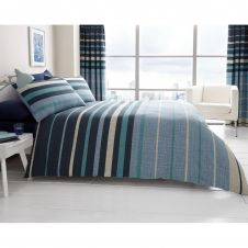 PRINTED DUVET SET BLOCK STRIPE BLUE