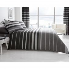 PRINTED DUVET SET BLOCK STRIPE GREY