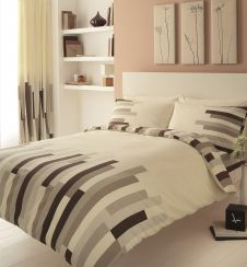 PRINTED DUVET SET BLOCKS CREAM/BROWN