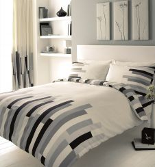 PRINTED DUVET SET BLOCKS CREAM/GREY/BLACK @