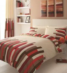 PRINTED DUVET SET BLOCKS CREAM/RED