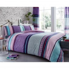 PRINTED DUVET SET CHARTER STRIPE BERRY