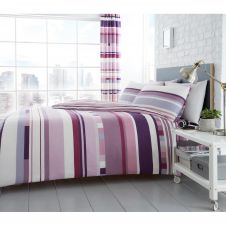 PRINTED DUVET SET CHESTER STRIPE PURPLE