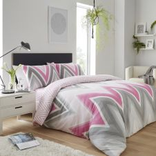 PRINTED DUVET SET CHEVRON GREY/PINK