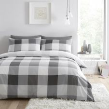 PRINTED DUVET SET COSMIC CHECK GREY