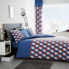 PRINTED DUVET SET CUBIX BLUE