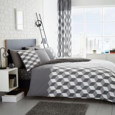 PRINTED DUVET SET CUBIX GREY