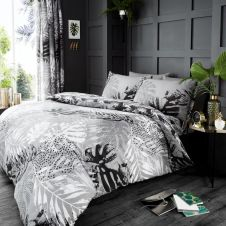 PRINTED DUVET SET DARK TROPICAL GREY