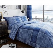 PRINTED DUVET SET DENIM CHECK BLUE