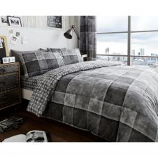 PRINTED DUVET SET DENIM CHECK GREY