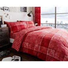PRINTED DUVET SET DENIM CHECK RED
