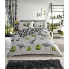 PRINTED DUVET SET DINOSAUR DREAMS GREY