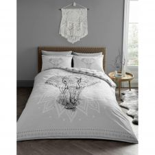 PRINTED DUVET SET EBONY GREY