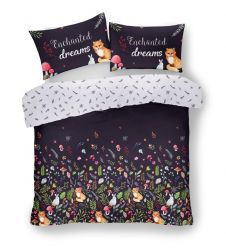 PRINTED DUVET SET ENCHATED DREAMS BLACK