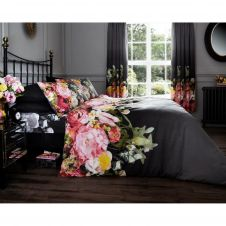 PRINTED DUVET SET FADDED FLORAL BLACK