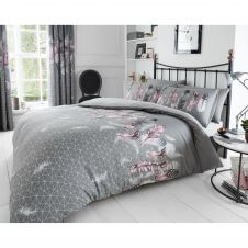 PRINTED DUVET SET FEATHERS GREY