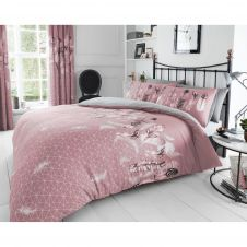 PRINTED DUVET SET FEATHERS PINK