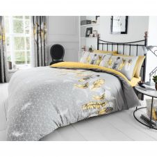 PRINTED DUVET SET FEATHERS YELLOW