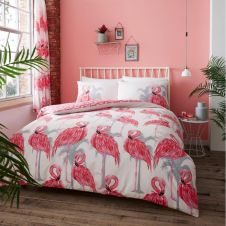 PRINTED DUVET SET FLAMINGO PINK