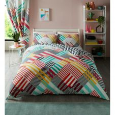 PRINTED DUVET SET GEO STRIPE BRIGHT