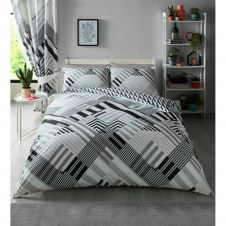 PRINTED DUVET SET GEO STRIPE GREY