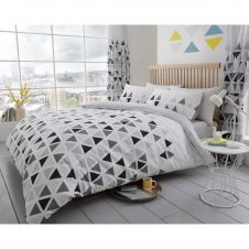 PRINTED DUVET SET GEO TRIANGLE GREY