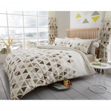 PRINTED DUVET SET GEO TRIANGLE NATURAL