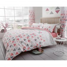 PRINTED DUVET SET GEO TRIANGLE PINK