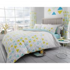 PRINTED DUVET SET GEO TRIANGLE TEAL