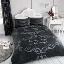 PRINTED DUVET SET GOOD NIGHT CHARCOAL