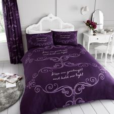 PRINTED DUVET SET GOOD NIGHT PURPLE