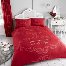 PRINTED DUVET SET GOOD NIGHT RED