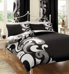 PRINTED DUVET SET GRANDEUR BLACK/GREY