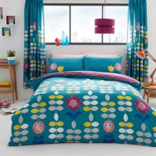 PRINTED DUVET SET HANSON TEAL