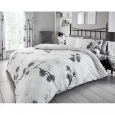 PRINTED DUVET SET HONESTY LEAF GREY