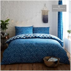 PRINTED DUVET SET INDIGO DIAMOND BLUE