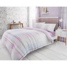 PRINTED DUVET SET JACKSON CHECK PURPLE