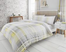 PRINTED DUVET SET JACKSON CHECK YELLOW/GREY