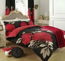 PRINTED DUVET SET KEW BLACK/RED