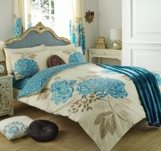 PRINTED DUVET SET KEW CREAM/TEAL