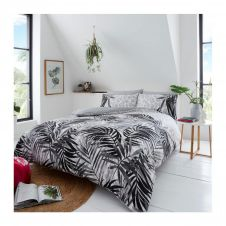 PRINTED DUVET SET LEOPARD LEAVES GREY