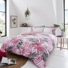 PRINTED DUVET SET LEOPARD LEAVES PINK