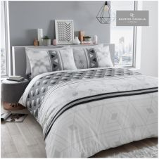 PRINTED DUVET SET MARBLE STRIPE GREY