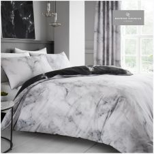 PRINTED DUVET SET MARBLE WHITE