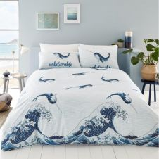 PRINTED DUVET SET NARWHAL BLUE
